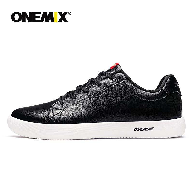 ONEMIX New Casual Leather White Shoes Lightweight Jogging Training Tenis Masculino Men's Sneakers Women's walking shoes