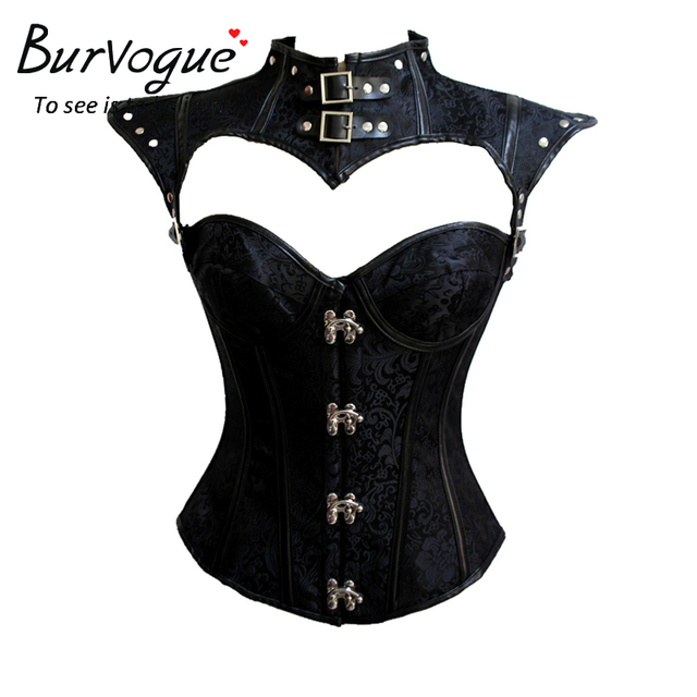 e259dc65a1c Burvogue Sexy Steampunk Corset Tops Gothic 12 Steel Boned Corset Overbust  Leather Halloween Costume party Corsets