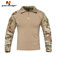 US Camouflage Army T-Shirt Men Soldiers Combat Tactical T Shirt Military Force Multicam Camo Climbing Hiking Long Sleeve