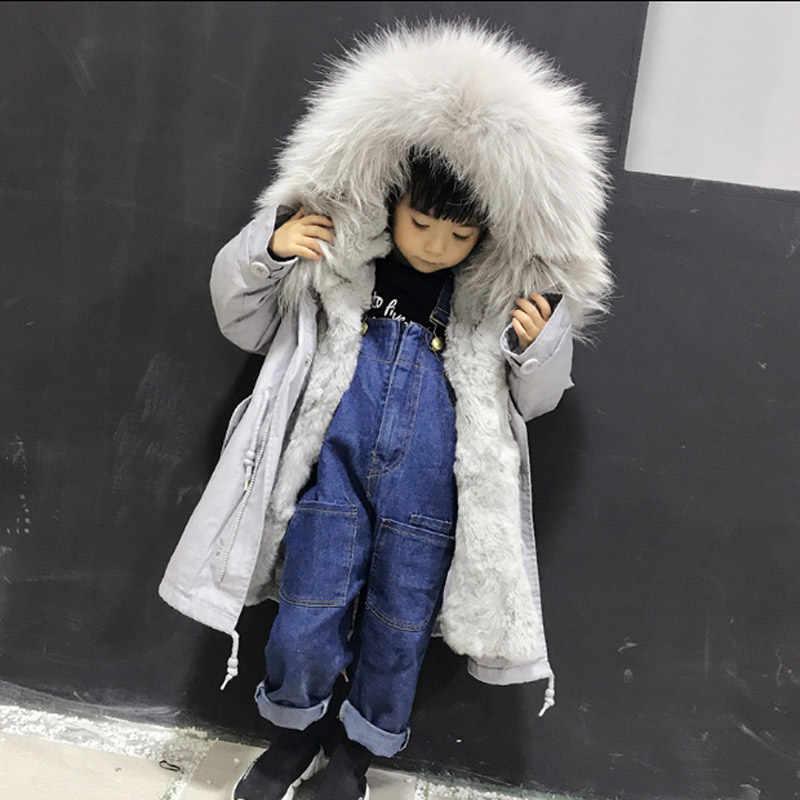 2018 outono e inverno novo das crianças Rex naturais pele de coelho forro de pele meninos meninas trança gola de pele espessamento da pele jaqueta