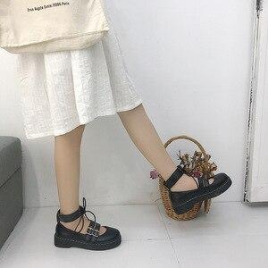 Image 4 - יפני חדש רך ילדה שני ללבוש קטן עור נעליים, עבה תחתון עגול ראש לוליטה תלמיד יפה בובת נעליים, נשים נעליים