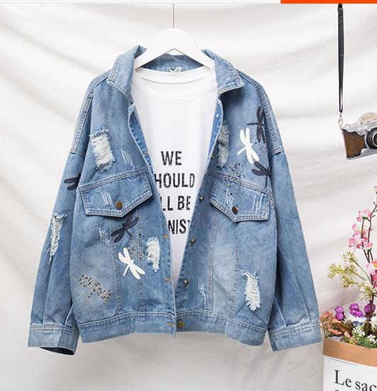 XL-5XL Women Denim   Jacket   Plus Size Coats Large Size Outwear Jeans Tops Cowboy Long Sleeve Hole Sequined   Basic     Jacket