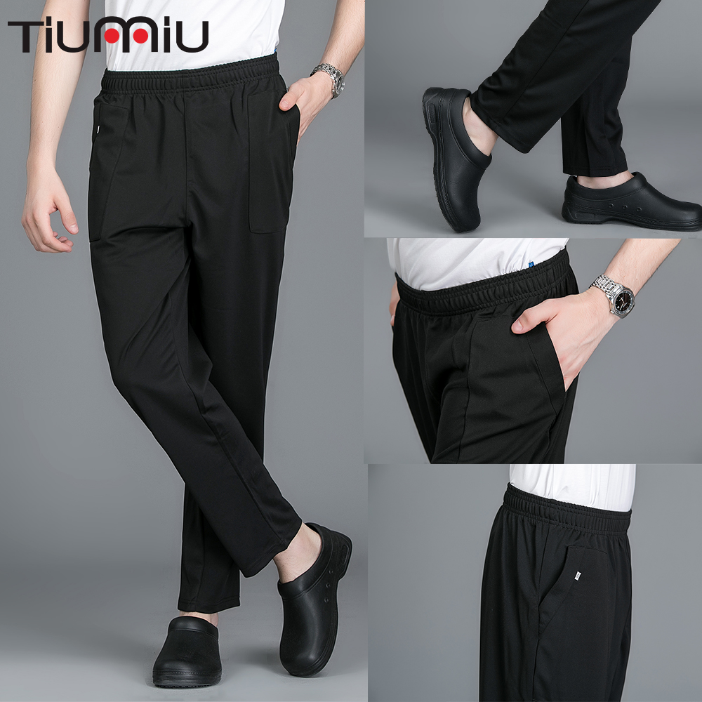 Chef Pants Elastic Waist Wholesale Long Trousers Kitchen Wear Clothes Men Women Thick Cozinha Hotel Work Restaurant Comfy