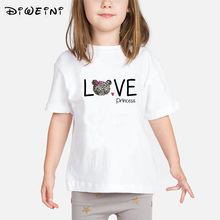 Baby Girls T shirt 2019 Summer LOVE Princess Print T-shirts Kids Clothes Child Cat White Camisetas 2 to 8 Years Toddler Tops vtom toddler kids baby set white t shirt tops suspender print shorts pant overalls with headwear summer princess girls clothes