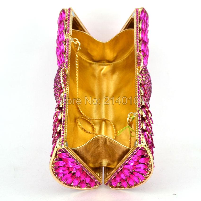 Magenta Fashion Crystal Clutches Evening Bags Women Party Purse Luxury Clutch Bag Ladies Night Bags Wedding Chain HandBag Q65