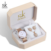 Shengke Women's Quartz Watch Set Women Rose Gold Earrings Necklace SK Ladies Watches Jewelry Set Luxury Gift Relogio Feminino