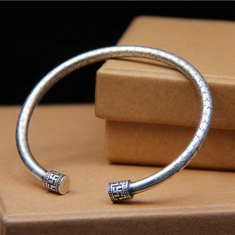 990 Silver Carved THE HEART OF PRAJNA PARAMITA SUTRA Bangle For Men Women om mani padme hum Bracelet Bangle Jewelry in Bangles from Jewelry Accessories