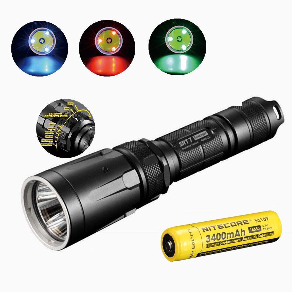 NITECORE SRT7 Flashlight CREE XM-L2 960LM Smart Selector Ring Search Torch green blue red w/Nitecore NL189 18650 3400mah battery nitecore mt10a 920lm cree xm l2 u2 led flashlight torch