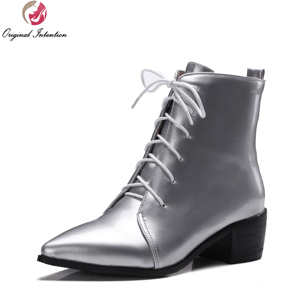 Original Intention Super Fashion Women Ankle Boots Pointed Toe Square Heels  Boots Black Grey Silver Shoes Woman US Size 4-15 32c4ae17c5df