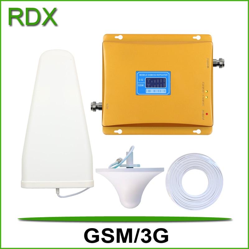 Nouveau gain élevé 65dB lcd affichage double bande 900 2100 répéteur de signal téléphone portable gsm 3g w-cdma 2100 mhz UMTS amplificateur de signal