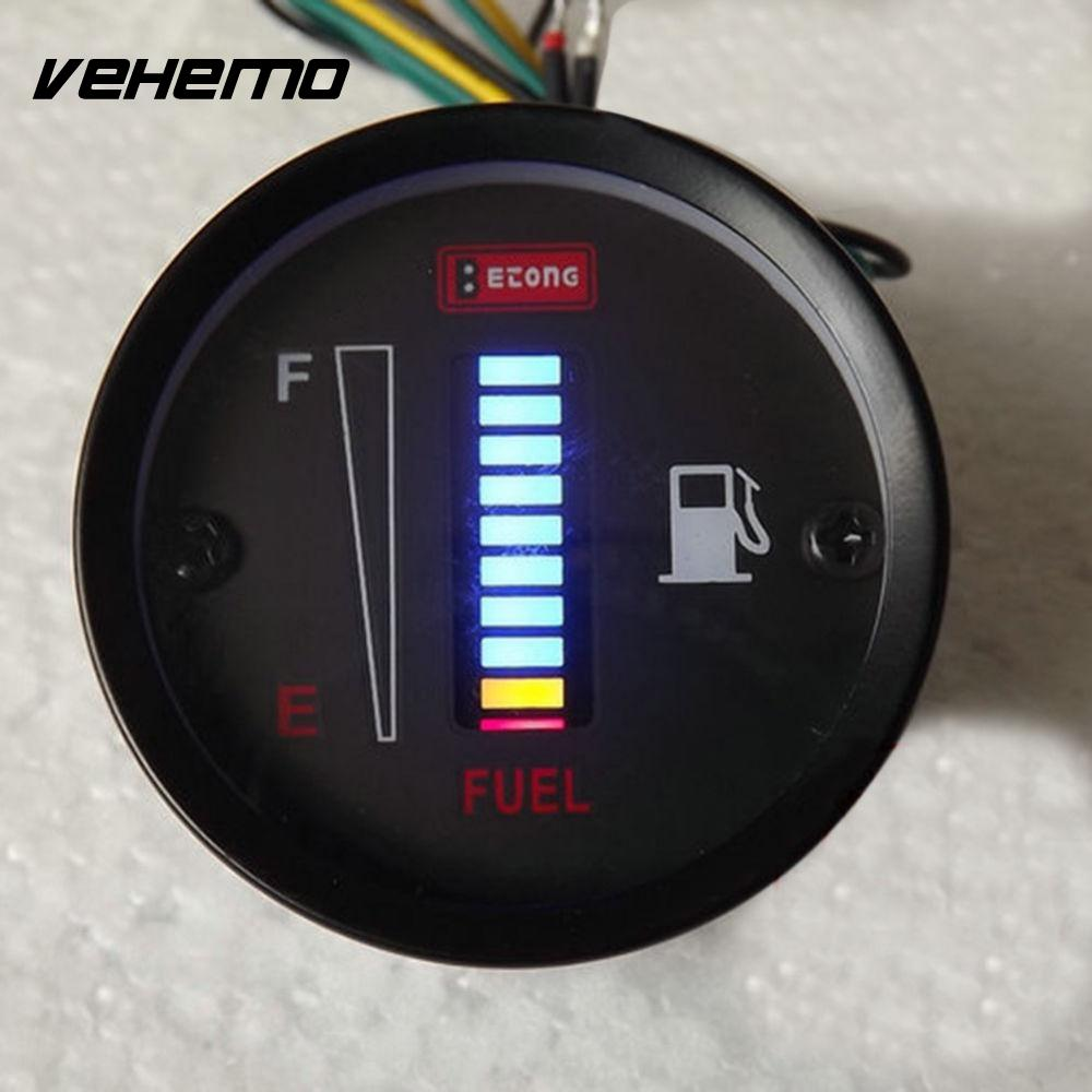 Car Fuel Gauge 10 LED Fuel Level Meter Gauge Fuel Level Sensor 12V Motorcycle Automobile ...