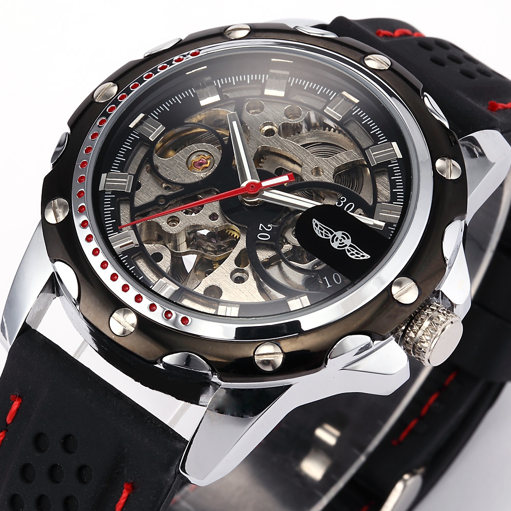 Famous Brand New Fashion Mechanical Watches Skeleton Watches Rubber Strap Men Automatic Mechanical Wrist Watch Relogio Masculino