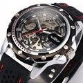 Famous Brand New moda relojes mecánicos Skeleton relojes correa de caucho hombres mecánico automático reloj Relogio Masculino