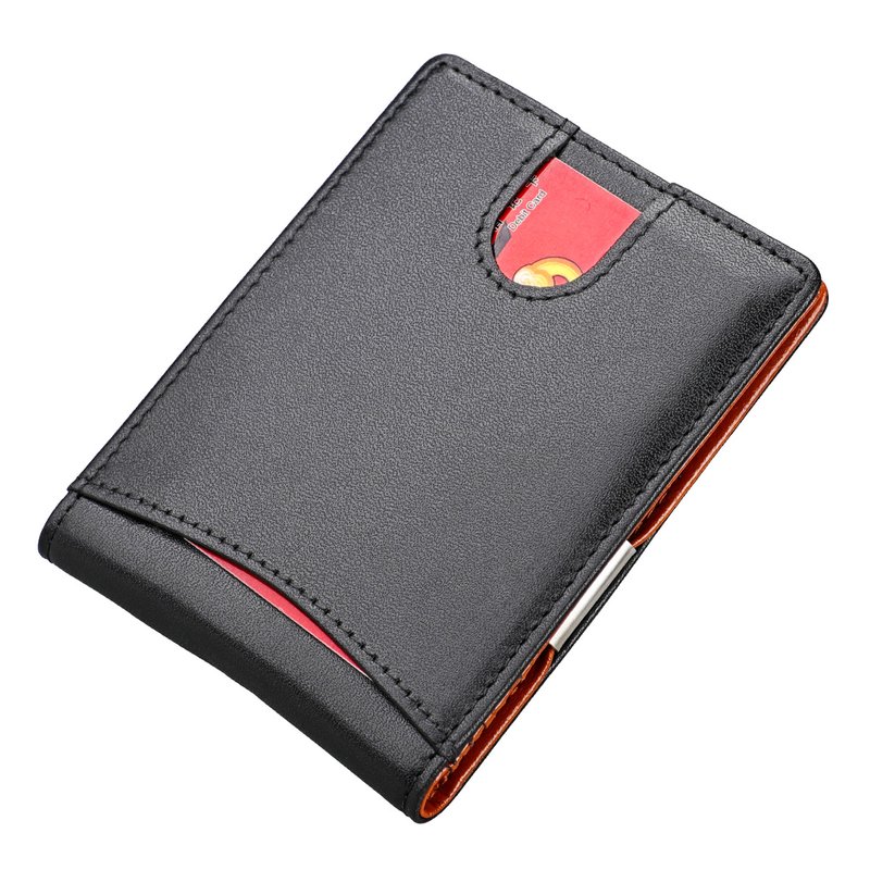 Men Women Genuine Leather Money Clips Bifold Male Purse Billfold Wallet Bills Cilp Female Clamp For Money Case RFID Anti-theft