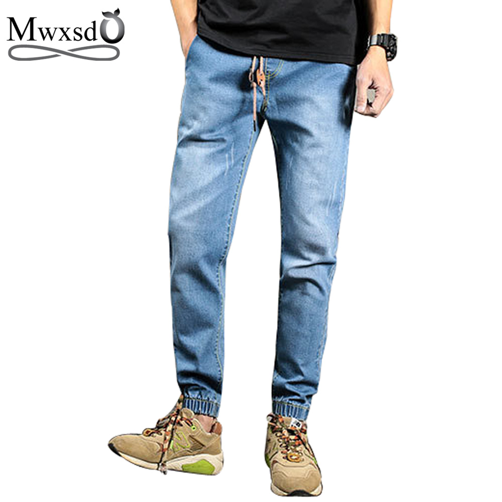 Mwxsd brand Spring Summer Elastic Waistline Jeans Men Casual Denim Trousers Harem Pants Slim Jeans Homme Plus Size 5XL plus size pants the spring new jeans pants suspenders ladies denim trousers elastic braces bib overalls for women dungarees