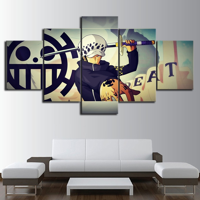 5 Piece HD Wall Art Picture One Piece Trafalgar Law Oil Painting Movie Poster Pictures for Living Room Decor image