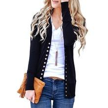 цена YJSFG HOUSE Hot Women Sweater Autumn Low Cut V-Neck Long Sleeve Knit Snap Sweaters Button Down Cardigan Female Thin Sweater Top в интернет-магазинах