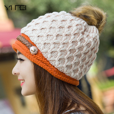 YIFEI Lady Female Brim stripe   Skullies   Hats New Fashion Woman's Warm Woolen Winter Hats Knitted Fur Cap For Woman Snapback Cap
