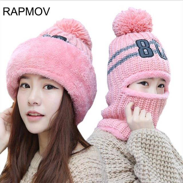 90681d4f27c 2017 knit Cap Scarf Cap two-piece Winter Hooded Hats For Women Fur Winter  Beanie Velvet Fleece Hat balaclava with Neckwa rmer