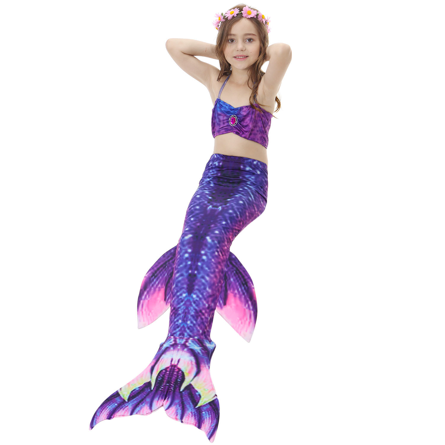 Kids Fish Costume For Swimming Bikini Clothing Girls 3-12 Years Old Mermaid Tails Cosplay Shorts Tops Dress