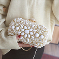 Women Party Handmade White Pearl Clutch Bag Bridal Wedding Beaded Hand bags Metal Clutches Hard Case Crystal Beading Evening Bag