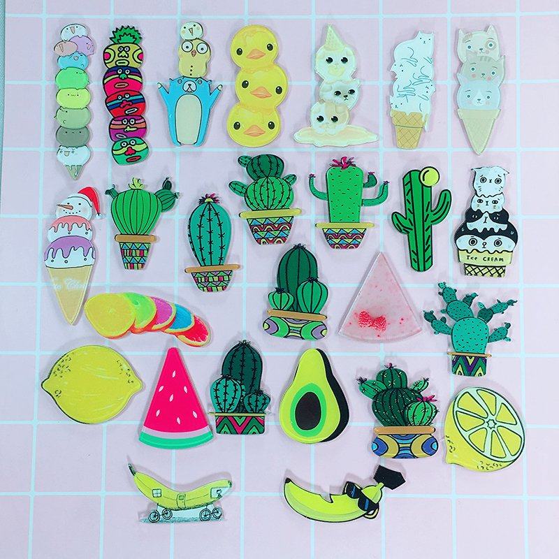 26pcs/set Fruits Style Acrylic Badges Set Irregular Cactus Cute Brooch Pins Backpack Clothes Decoration Brooches