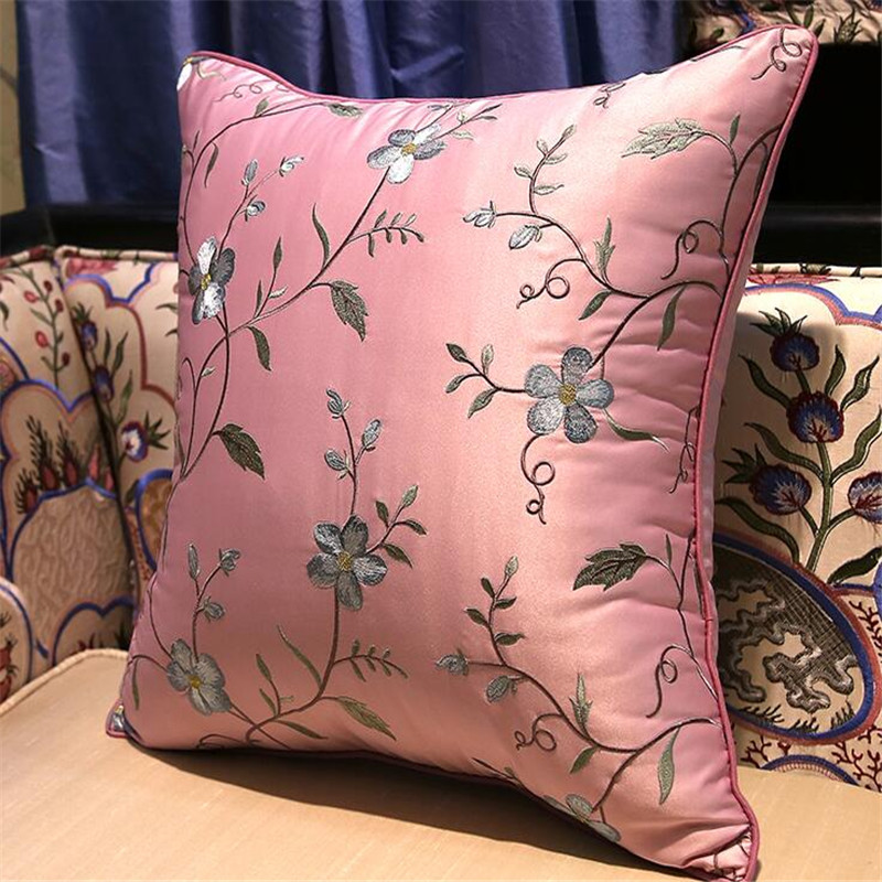 free shipping classical brach flowers throw <font><b>Pillow</b></font> with inner <font><b>50x50cm</b></font> <font><b>Pillow</b></font> embroidery sain cushion <font><b>pillow</b></font> chair <font><b>decorative</b></font> image