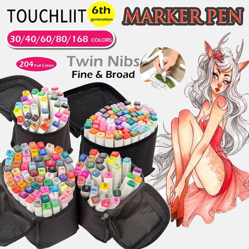 Touchliit 168 Art Schizzo Marcatori Caneta Manga Twin AD Marker 204 Colori Disegno Penne per I Bambini di Alcol In Scala di Grigi tono Della Pelle marcatore