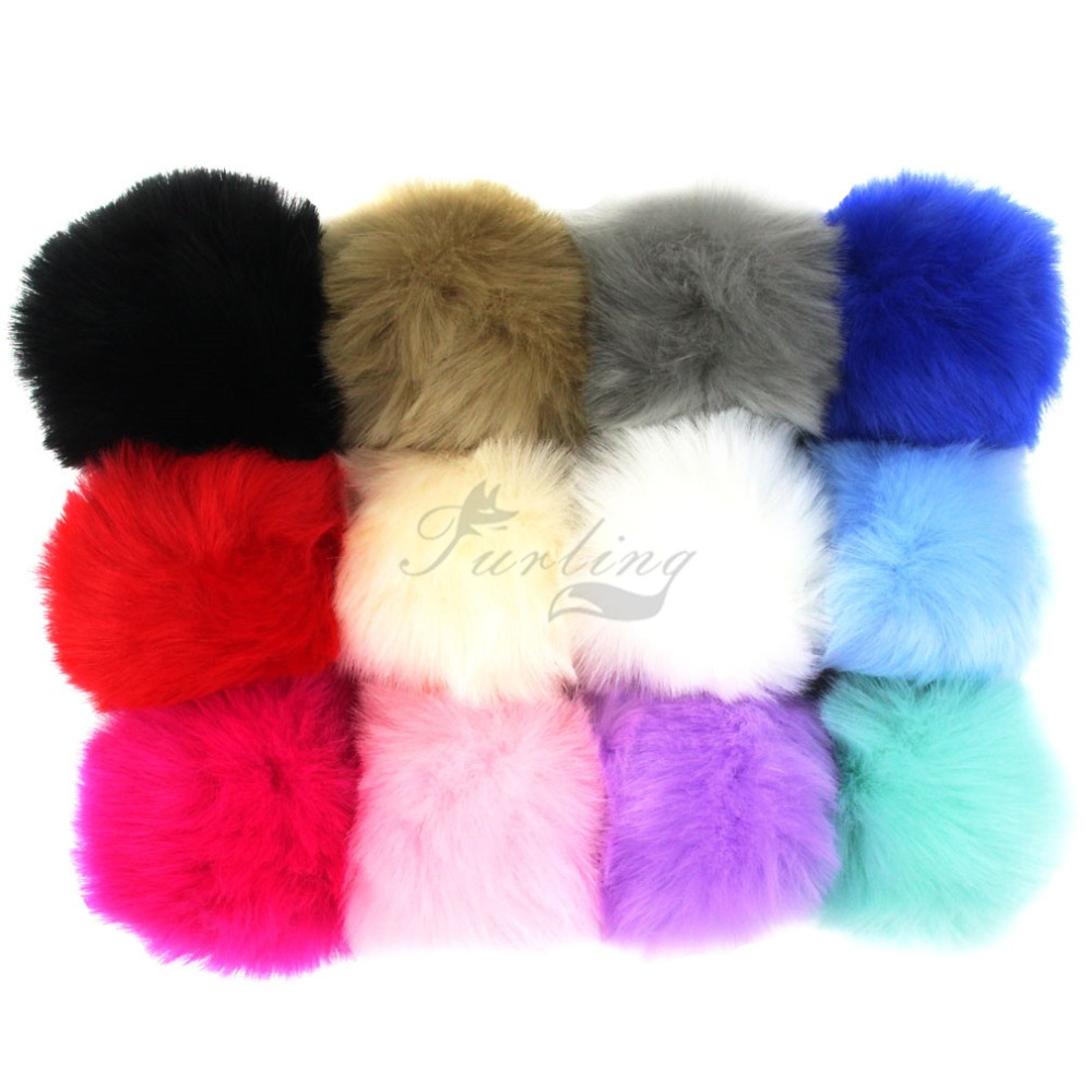 Furling Girls 12pcs 9cm Handmade Soft Faux Fur Pom Poms Ball for Key Ring Keychain Hangbag Beanie Hat Charm Accessory DIY