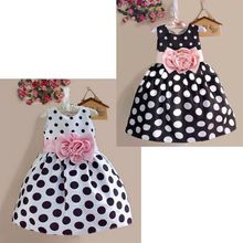 2015 Summer Baby Kids Girls Party Wedding Polka Dot Flower Gown Fancy Dress 2 to 7Y