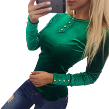 2017 Newly Velvet T-shirt Women's Spring Autumn T Shirts Tops Velvet T-shirt Long Sleeve Solid Button Women Tee Shirts GV508