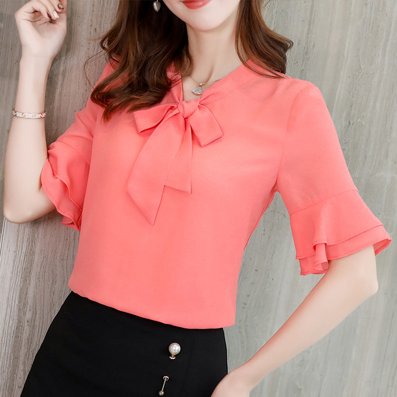 Womens Tops Bow Tie Neck Summer Chiffon Blouse Short Ruffles Sleeve Office Work Shirts Female 2019 Elegant Pink White Tops Blusa