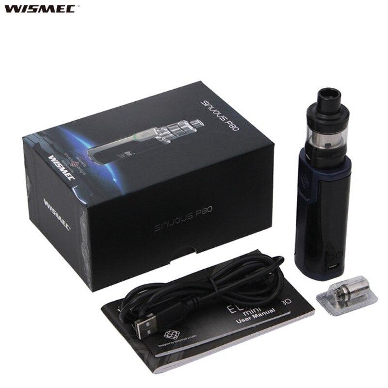 Kit vapoteur d'origine Wismec sinueux P80 boîte sinueuse Mod Vape avec Mini réservoir Elabo 2 ml pour bobine WS01 Sigaretta Elettronica