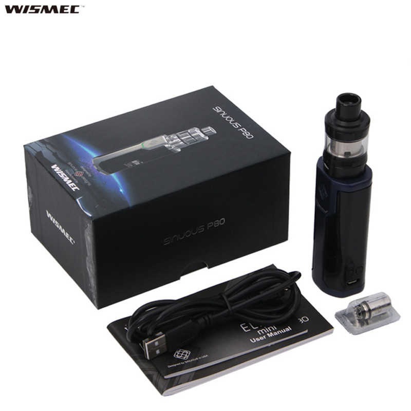 D'origine Wismec Sinueux P80 Kit Sinueux P80 Boîte Mod Vaporisateur avec Elabo Mini Réservoir 2 ml Fit WS01 Bobine Sigaretta elettronica Vaper Kit