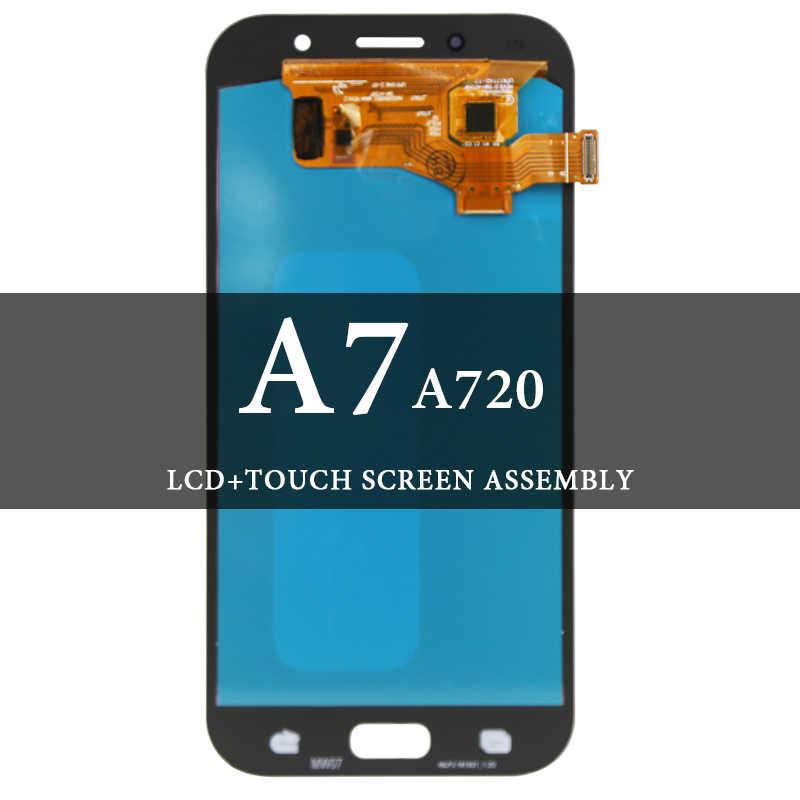 سوبر AMOLED شاشات lcd لسامسونج A7 A720 شاشة الكريستال السائل مع محول الأرقام شاشة تعمل باللمس الجمعية لسامسونج A7 2017 A720