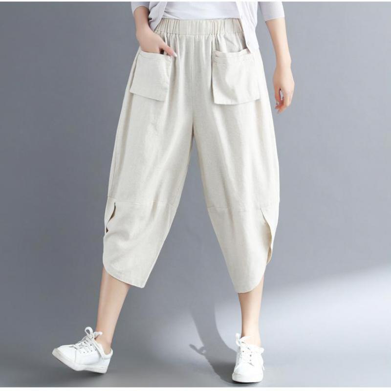 Johnature 2019 Summer New Cotton And Linen   Wide     Leg     Pants   Casual Loose Elastic Waist Plus Size Comfortable Women Harem   Pants