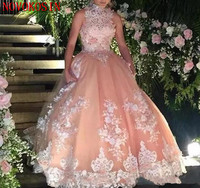 2019 Latest Ball Gown Appliques Beaded Prom Dresses For Birthday Party Dresses High Neck Quinceanera Dresses