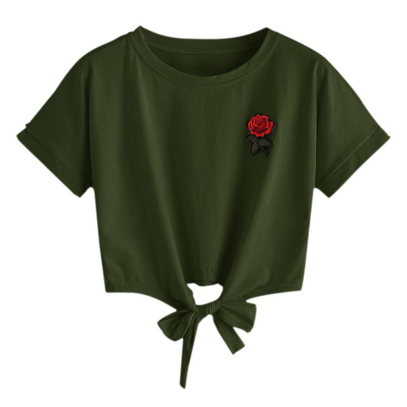 Coolgirl Store 2017 Harajuku Summer Sexy Women Embroidery Rose Short Sleeve O-Neck Tee Shirt Tops Casual Female T-Shirt Camisetas Mujer