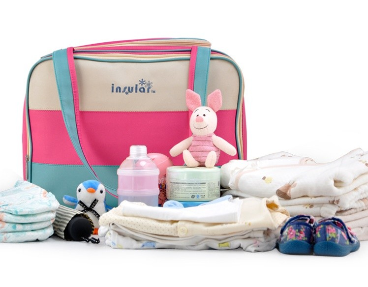 insular Colorful stripe diaper bag multifunctional waterproof baby care nappy mummy bag mother Shoulder Tote stroller bags 6