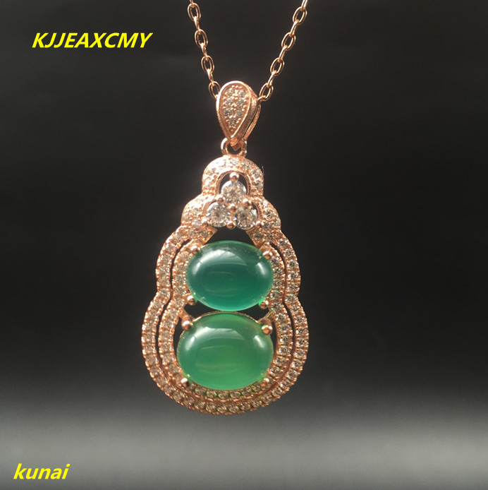 KJJEAXCMY boutique jewels 925 silver Natural jade powder with a pendant necklace could send green asde ...
