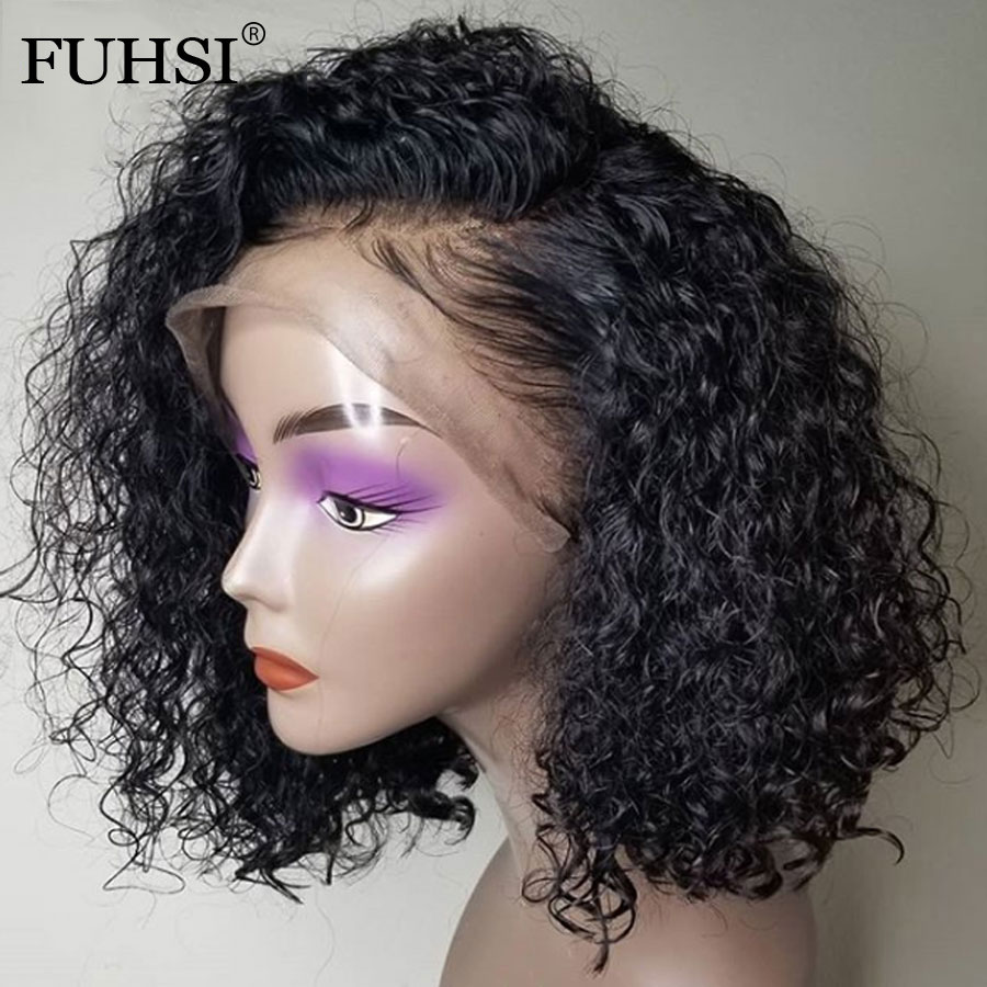 Short Bob Lace Front Human Hair Wigs For Black Women Curly Lace Front Bob Wig 13x4