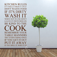 Large Quote Kitchen Rules Vinyl Wall Art Sticker Wall Stickers For Kitchen Decor Free Shipping Size