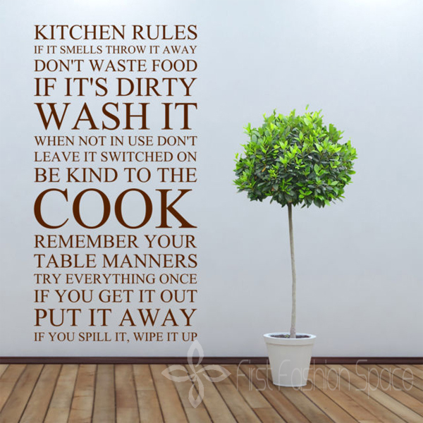 Perfect Large Quote Kitchen Rules Vinyl Wall Art Sticker Wall Stickers For Kitchen  Decor Free Shipping Size