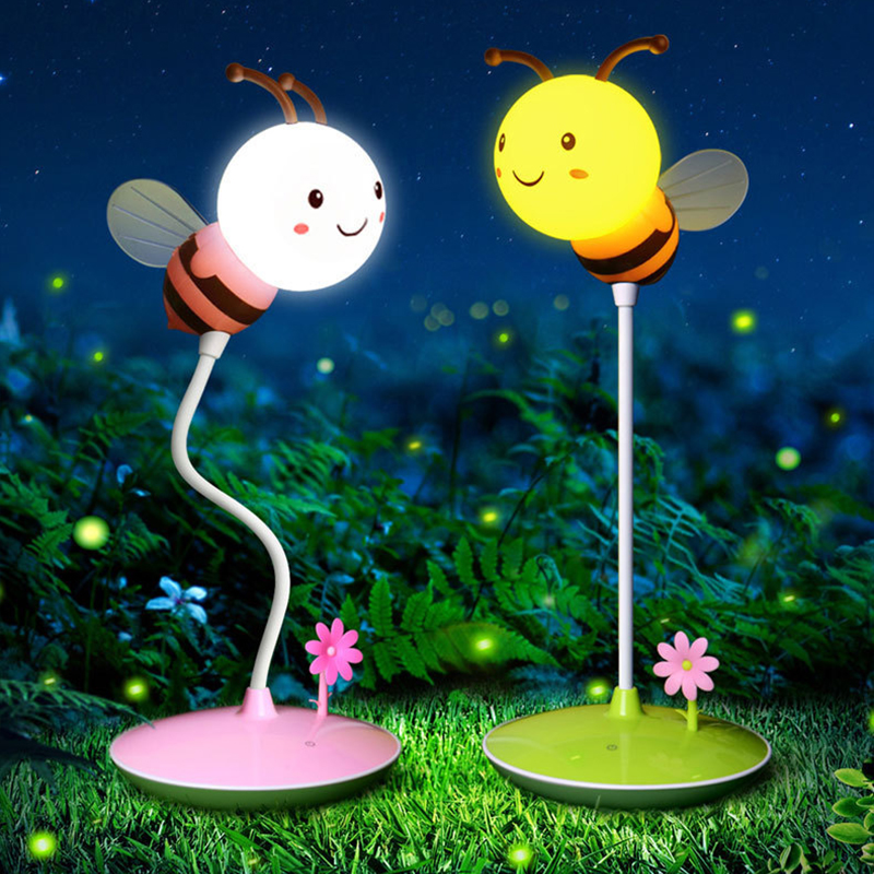 QYJSD Cute Bee Touch Control Night Light Cartoon ChildrenS Reading Touchable Three-Speed Control Eye Learning Table LampQYJSD Cute Bee Touch Control Night Light Cartoon ChildrenS Reading Touchable Three-Speed Control Eye Learning Table Lamp