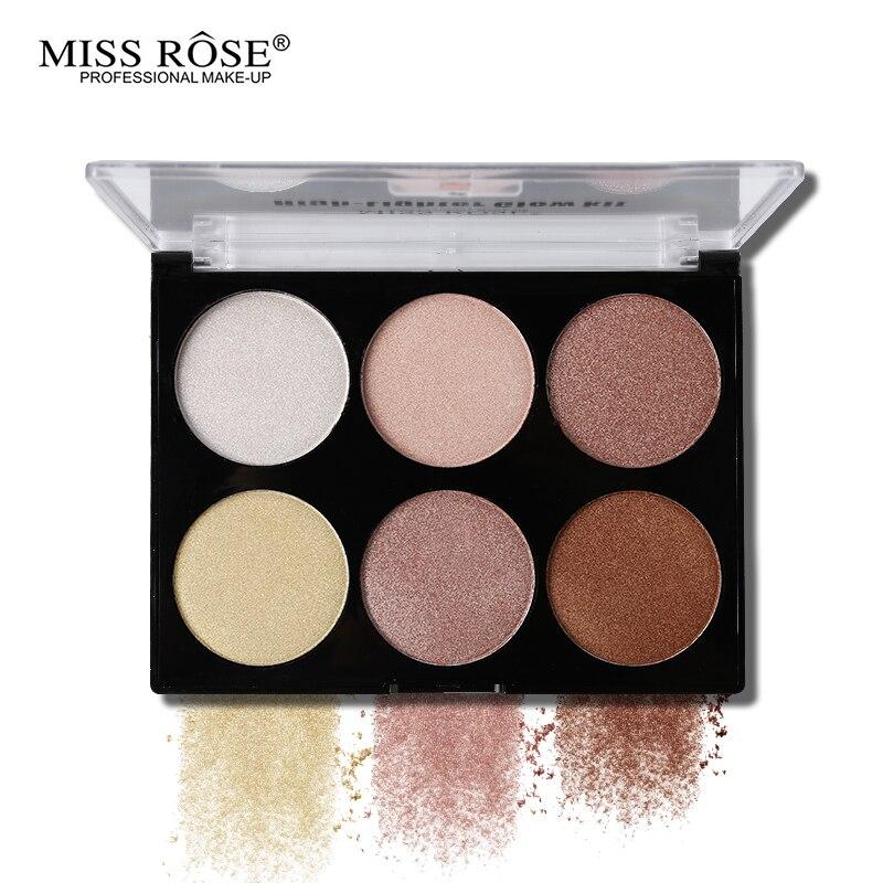 цена на Miss Rose Professional 6 Color Highlighter Palette Contour Powder Highlighter Bronzer Makeup Glow Kit Base Contouring 3D Face