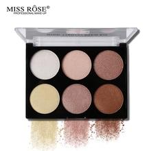 Miss Rose Professional 6 Color Highlighter Palette Contour Powder Highlighter Bronzer Makeup Glow Kit Base Contouring 3D Face