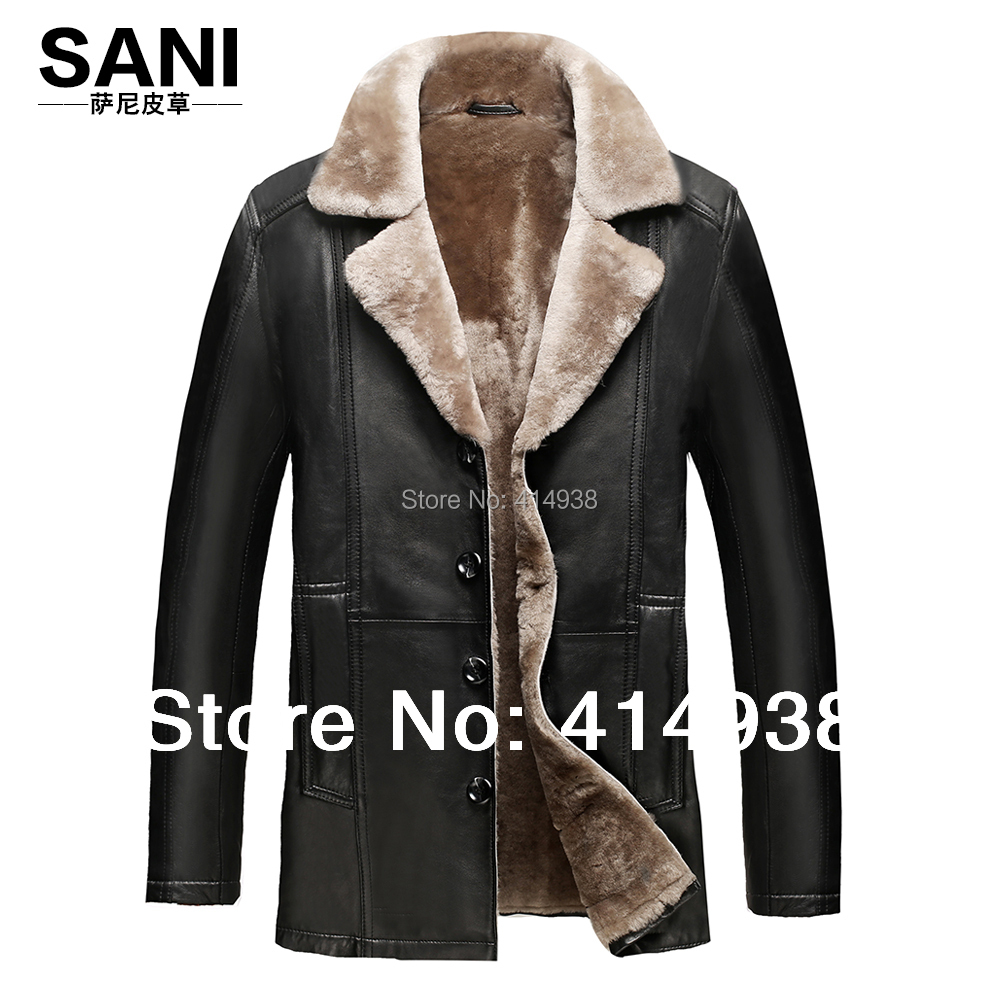 2017 Men Commercial Jacket Thick Slim 100% Guaranteed Merino Coat Genuine Leather Sheepskin Overcoat Men Suede Fur Coat Jacket