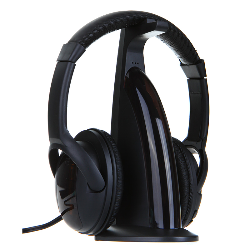 Wireless 5 in 1 HiFi Headset Stereo Music Headphones Monitor MP3 PC TV Audio Phones Hi-Fi Earphone w/ FM Radio Transmitter Stand