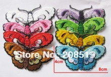 AE045 fashion patch iron on butterfly 40pcs mixed 8cm*4cm high quality patches for clothes