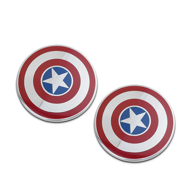 Hot sale! 3D Cool Metal 7x7cm Car Stickers Metal Captain America Shield Badge Emblem Tail Decal Motorcycle Vehicles Car Accessor